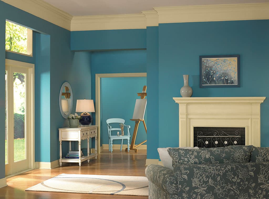 Setting the mood blue color room scenes for Interior paint colors dutch boy