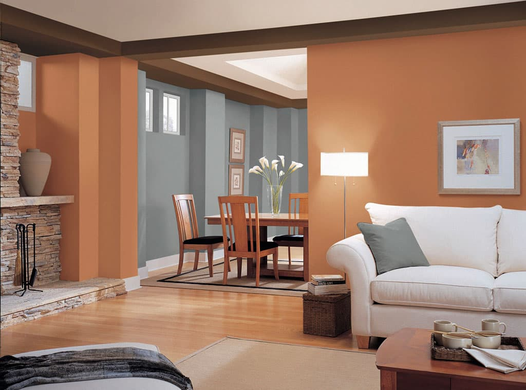 Earthen energy orange color dutch boy - How to color walls of living room ...