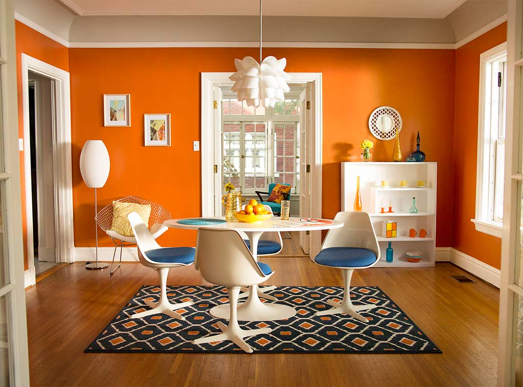 Bright and sunny orange color dutch boy for Colores para interiores de casa modernos